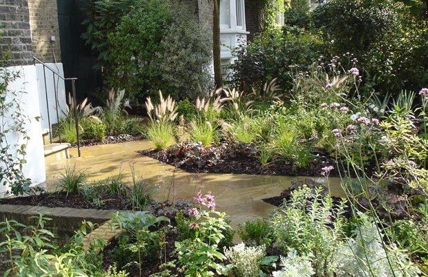 Front garden in Islington with zig zag path and planting by Carol Whitehead garden design