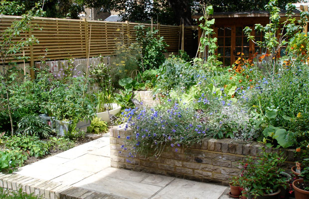raised beds in an ornamental kitchen garden in hackney by carol whitehead garden design