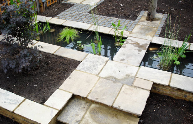 City courtyard garden with pond by Carol Whitehead garden design