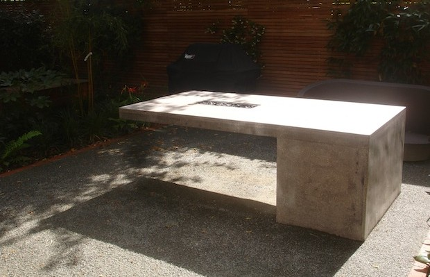 Unique concrete table monolith by Carol Whitehead garden designer and artist