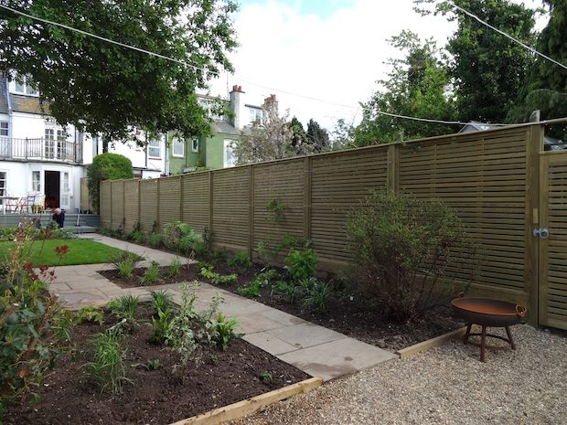 The completed garden path of client's seaside kitchen garden in Kent