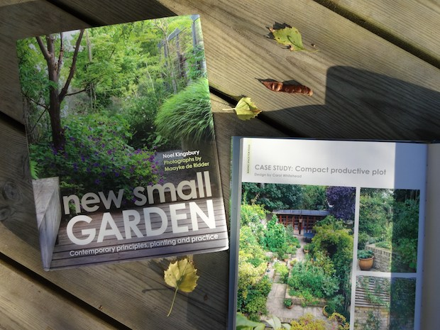 Front cover and open page of New Small Garden book by Noel Kingsbury in which Carol Whitehead designed garden is featured