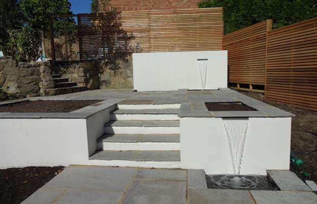 contemporary terrace on a steep gradient